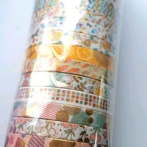 🆕 NEW 24 pcs Designed Washi Tapes with Gold Foil